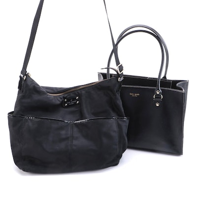Kate Spade New York Black Leather Tote and Nylon Diaper Bag with Changing Pad