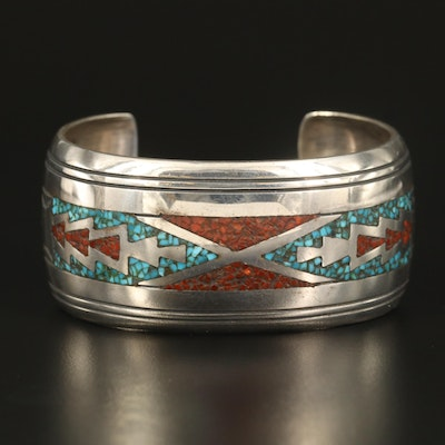 Thomas Singer Navajo Diné Sterling Turquoise and Coral Inlay Cuff