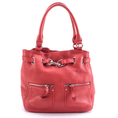 Cole Haan Shoulder Bag in Coral Red Pebbled Leather