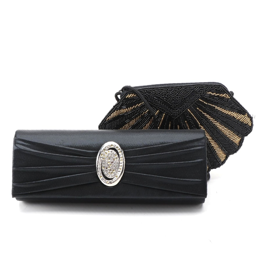 Embellished Clutch with Strap Options and Beaded Clamshell Evening Bag