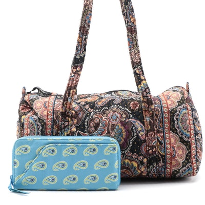 "Vera Bradley Weekender in ""Kensington"" and Long Wallet in ""Bermuda Blue"""