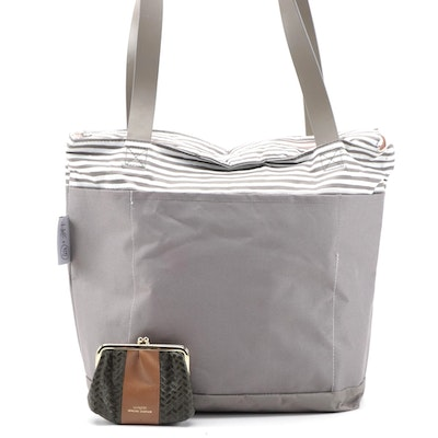 Love Taza Grey and Pink Canvas Tote and Buxton Leather Coin Purse