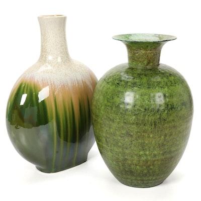 Ceramic and Metal Decorative Vases