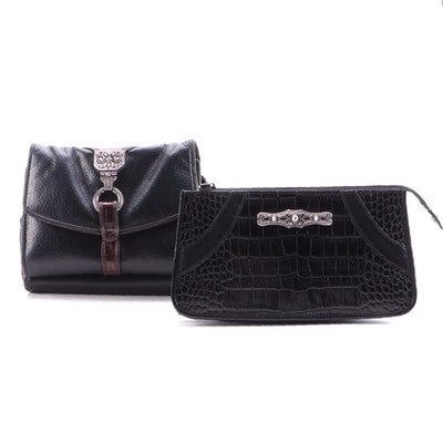 Brighton One World Convertible Clutch Purses in Black and Brown Leather