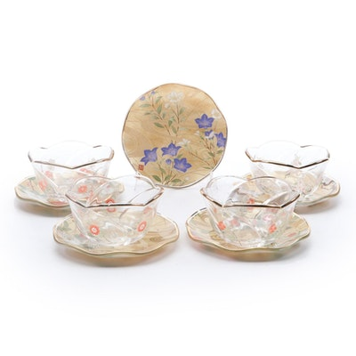 Kansai Yamamoto Reverse Painted Glass Teacups and Saucers