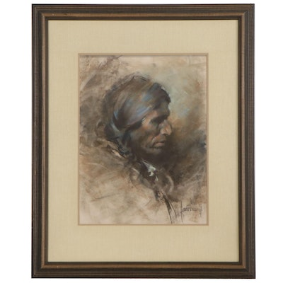 "Harley Brown Pastel Portrait ""Blackfoot Brave,"" Mid-20th Century"