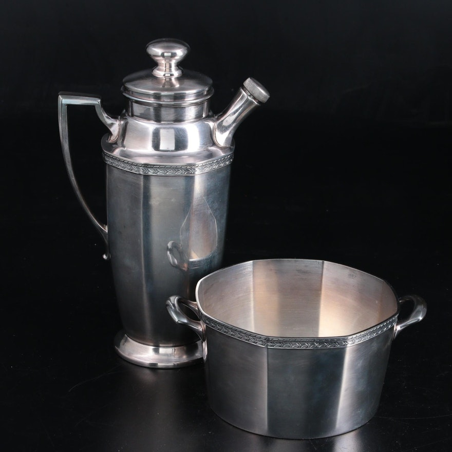 Art Deco W.M. Mounts Silver Plate Cocktail Shaker and Ice Bucket
