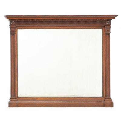 Neoclassical Style Oak Overmantel Mirror, Late 19th Century