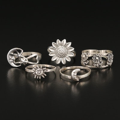 Sterling Silver Stars, Flowers, Sun and Moon Rings