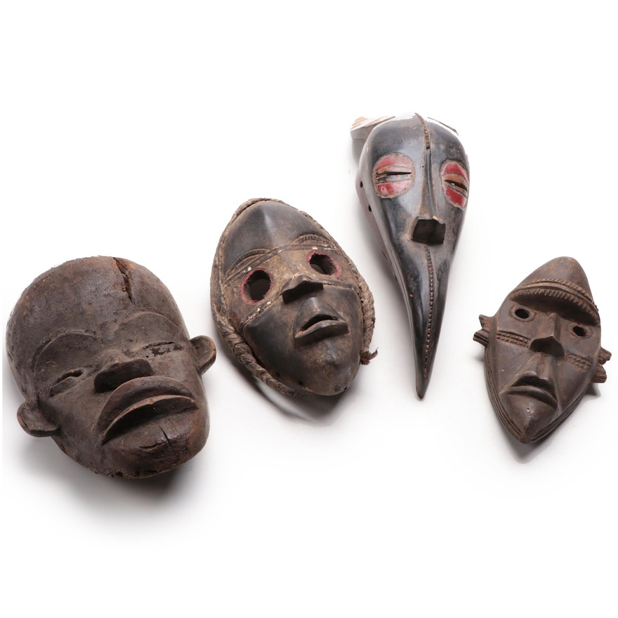 Dan Style Handcrafted Wooden Masks, West Africa