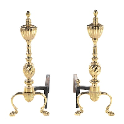Pair of Federal Style Brass Andirons, Late 20th Century