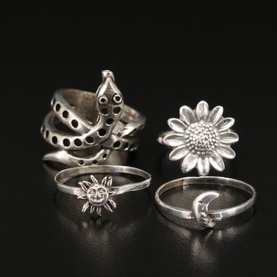 Sterling Sun, Moon and Flower Ring with 800 Silver Snake Ring