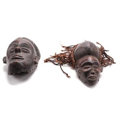 Chokwe Inspired Hand-Carved Wooden Masks, Central Africa