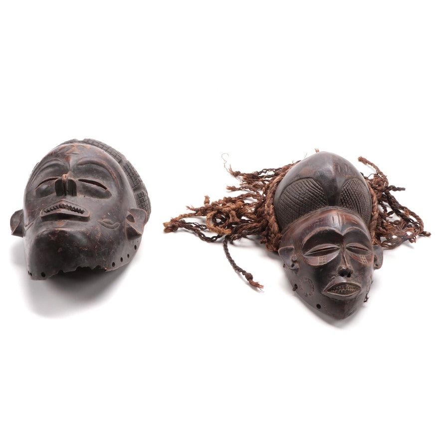 Chokwe Inspired Hand-Carved Wooden Masks, Central Africa