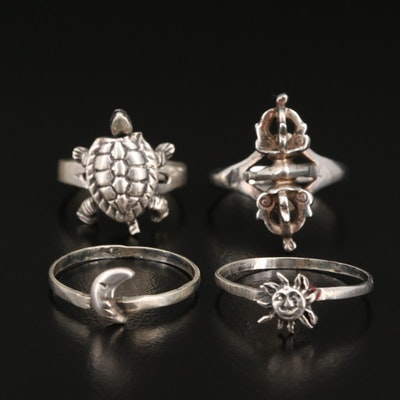 Sterling Articulated Turtle, Tibetan Varja and Sun/Moon Stacking Rings