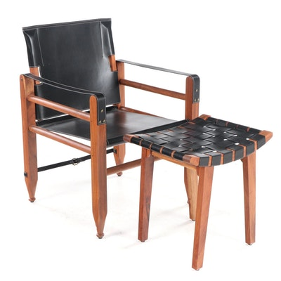 Bobo Intriguing Objects Campaign Chair and Ottoman in Sheesham and Black Leather
