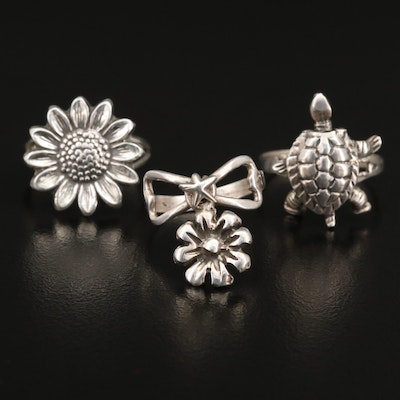 Sterling Floral Spinner, Sunflower and Articulated Turtle Rings