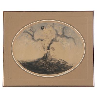 "Louis Icart Etching ""La Cueillete (Blossom Time),"" 1926"