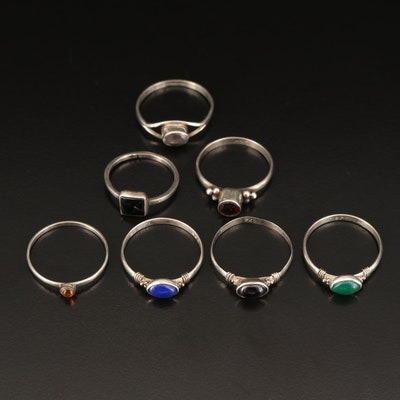 Sterling Silver Rings Featuring Amethyst, Black Onyx and Garnet