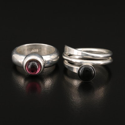 Sterling Glass and Spiral Rings