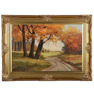 "Robert Wood Landscape Oil Painting ""Road Home,"" Late 20th Century"