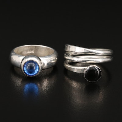 Sterling Glass Band and Spiral Ring