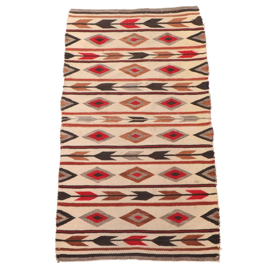 2'2 x 4'1 Handwoven Navajo Style Banded Accent Rug