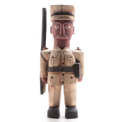 Baule Style Painted Wood Colon Figure, Côte d'Ivoire
