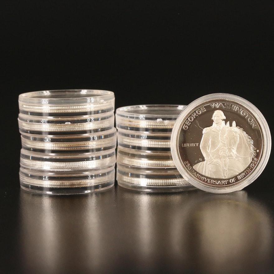 Ten 1982-S George Washington Proof Commemorative Silver Half Dollars