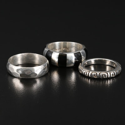 Sterling Silver Bands Featuring Greek Key Design