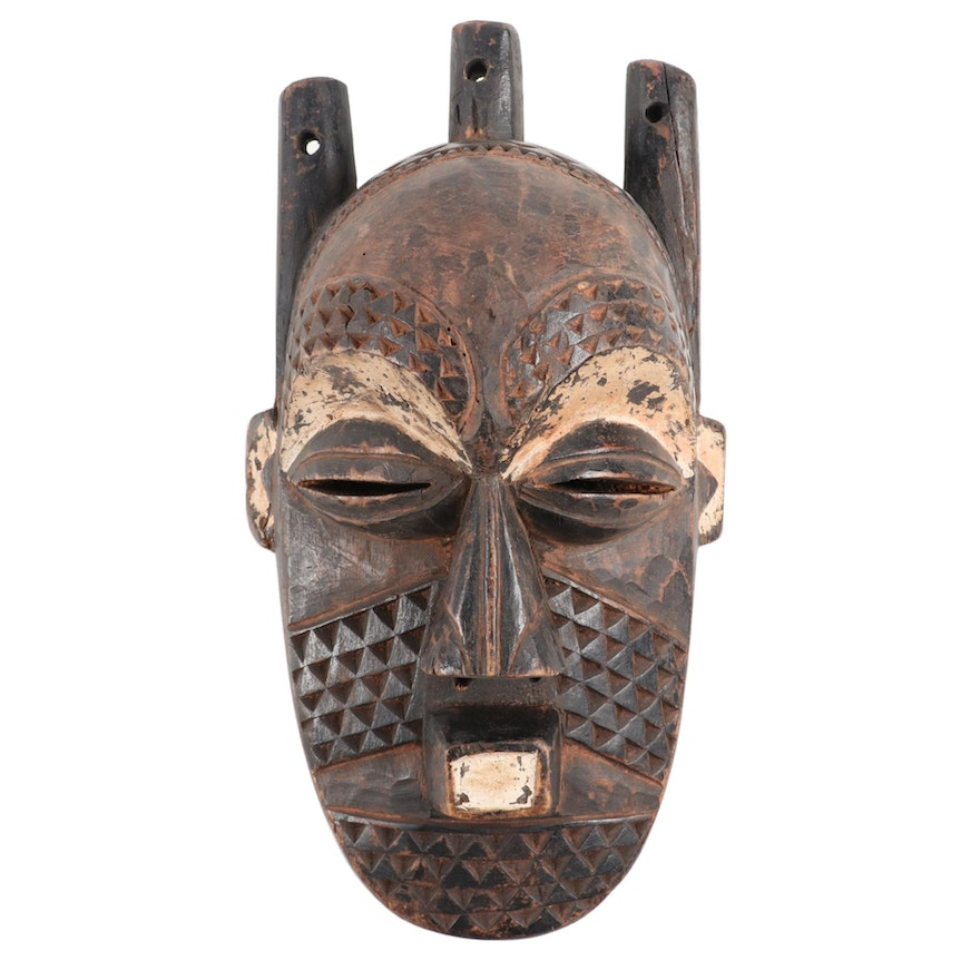 Biombo Style Carved Wood Mask, Central Africa