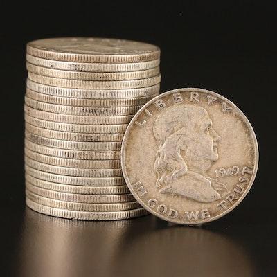Twenty 1949-D Franklin Silver Half Dollars