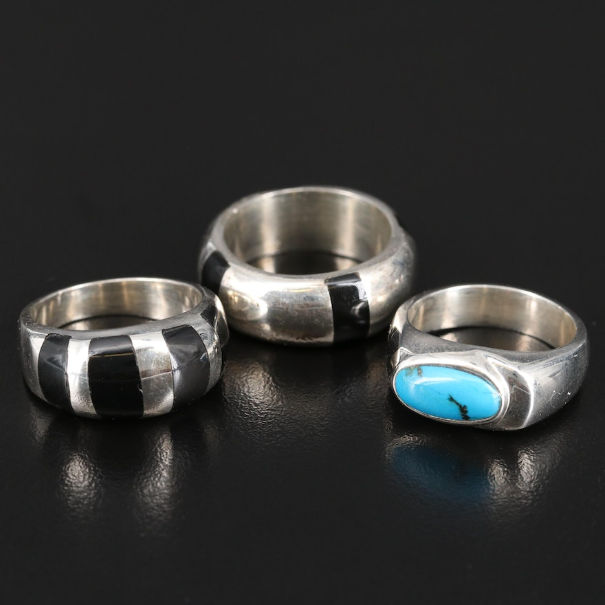 Mexican Sterling Inlaid Bands and Turquoise Ring