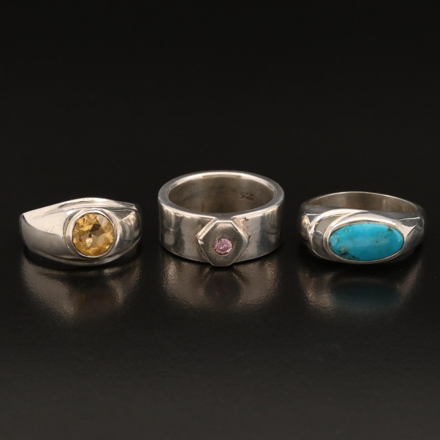 Sterling Silver Rings Featuring Citrine, Turquoise and Cubic Zirconia