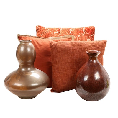 Pier One Double Gourd Glass Vessel with Pillows and Other Ceramic Vase
