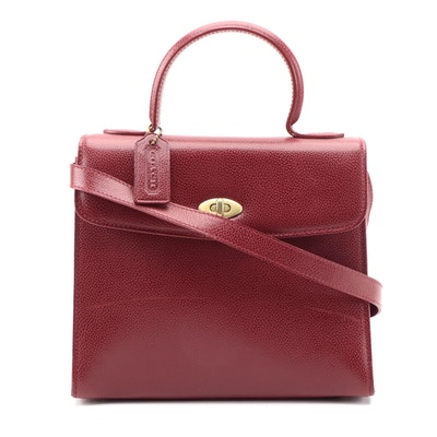 Coach Red Leather Two-Way Biltmore Satchel Bag