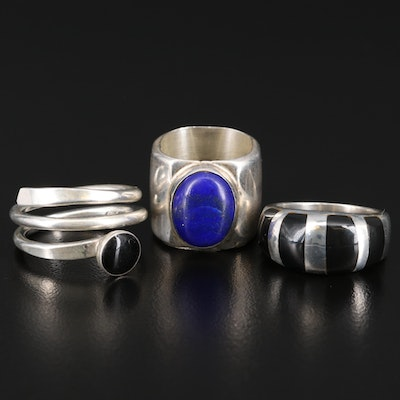 Sterling Silver Rings Featuring Black Onyx and Lapis Lazuli