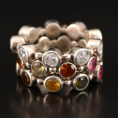 Sterling Silver Tourmaline and Cubic Zirconia Stackable Rings