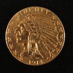 1914 Indian Head $5 Gold Half Eagle Coin