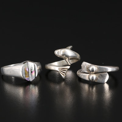 Sterling Silver Rings Featuring Abalone and Dolphin Wrap Ring