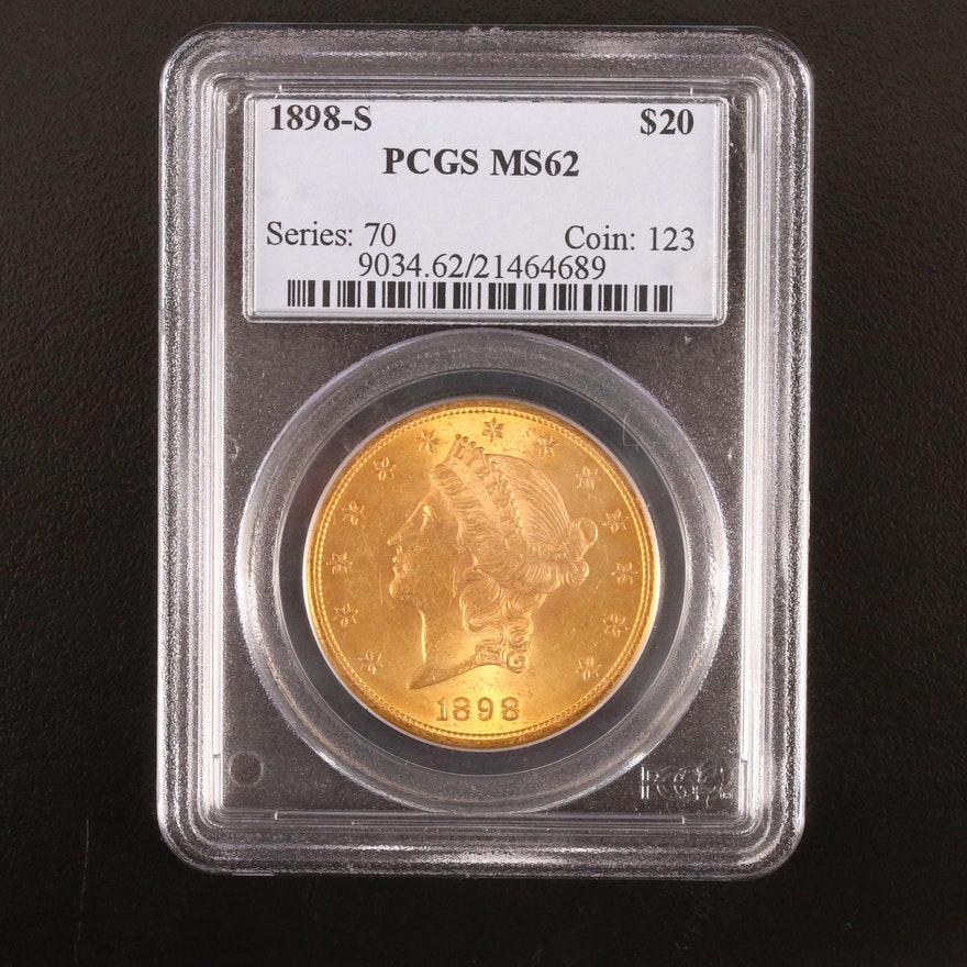 PCGS Graded MS62 1898-S Liberty Head $20 Gold Double Eagle Coin