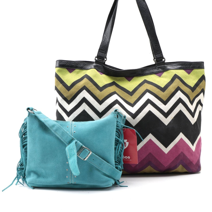 Minnetonka and Missoni for Target Fringe Suede Bag and Chevron Tote