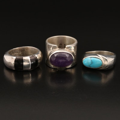 Sterling Silver Rings Featuring Amethyst, Turquoise and Enamel