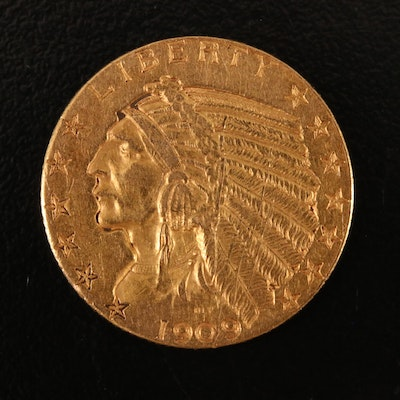 1909-D Indian Head $5 Gold Half Eagle Coin