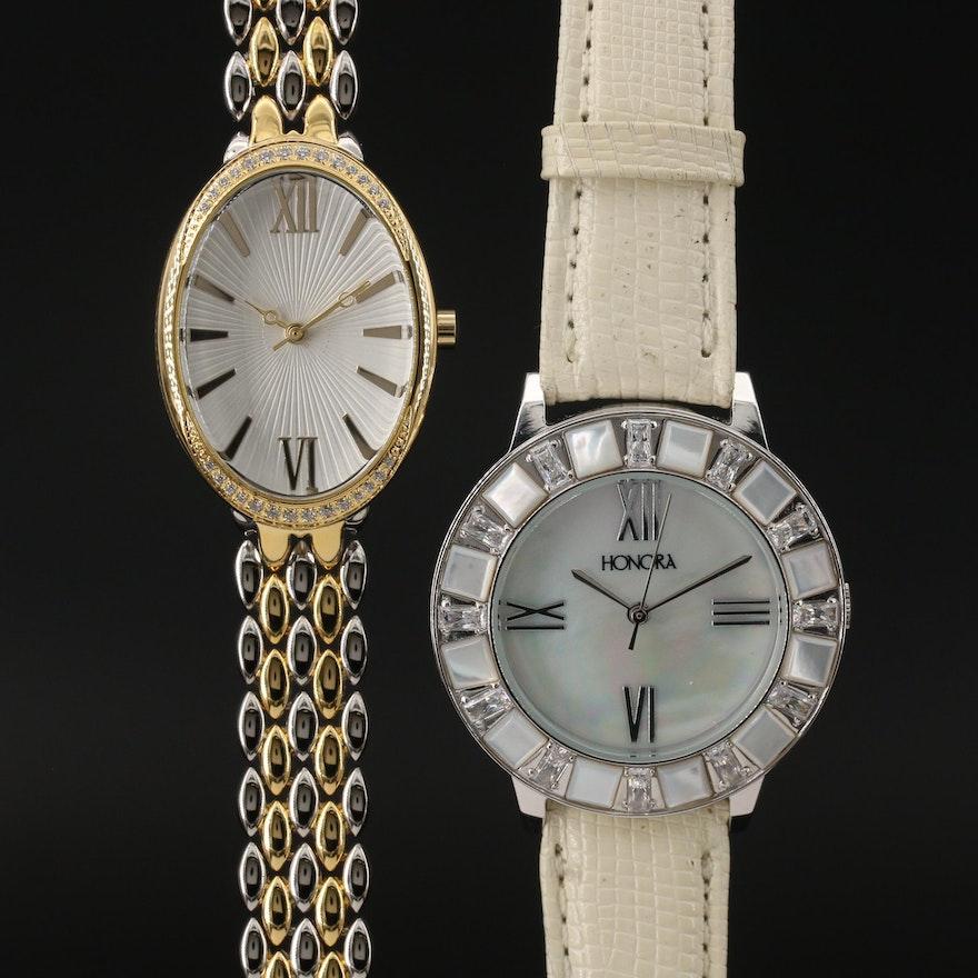 Honora and DMQ Cubic Zirconia Quartz Wristwatches