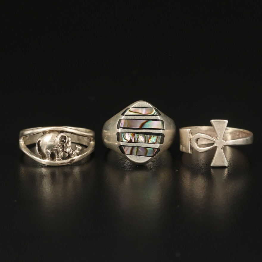Sterling Abalone Inlay, Ankh and Elephant Rings