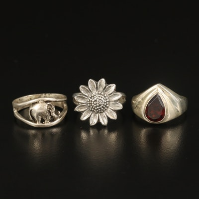 Sterling Garnet, Sunflower and Elephant Rings