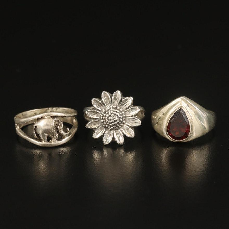 Sterling Garnet, Sunflower and Elephant Rings