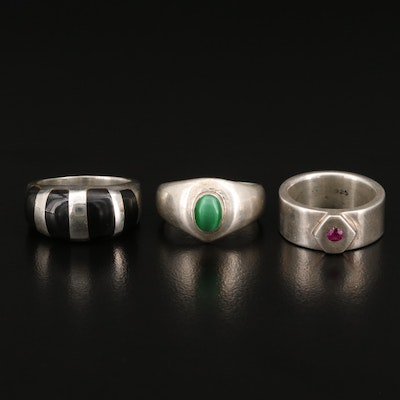 Sterling Silver Rings Including Pipe Cut Ruby Band