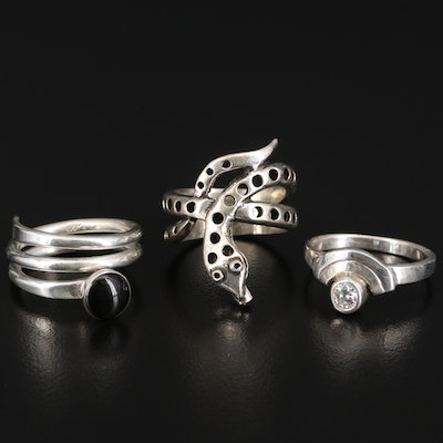 Sterling Rings with 800 Silver Snake Wrap Ring